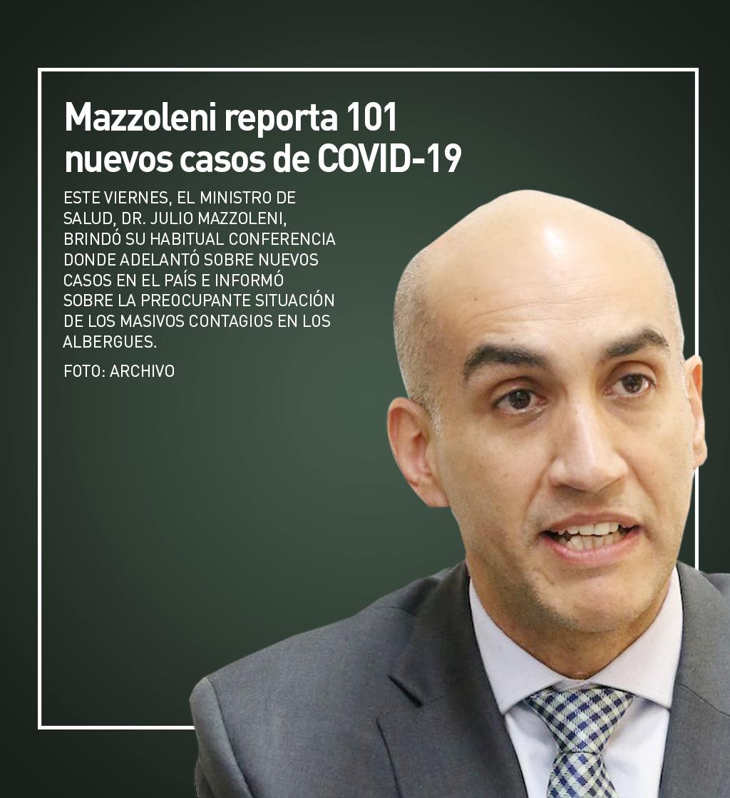 Mazzoleni reporta 101 nuevos casos de COVID-19